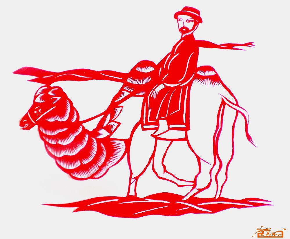 剪纸 - 作品37老人骆驼